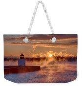 Dawn Peeking Over At Derby Lighthouse Weekender Tote Bag