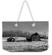 Days Gone By - Arkansas Barn In Black And White Weekender Tote Bag