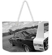 Daytona Charger In Black And White Weekender Tote Bag