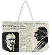 Death Of Harding, 1923 Weekender Tote Bag