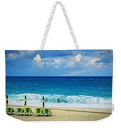 Deck Chairs And Distant Rainbow Weekender Tote Bag by Silvia Ganora