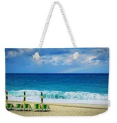 Deck Chairs And Distant Rainbow Weekender Tote Bag