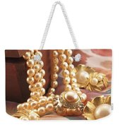 Decorated Carved Box In Aluminum And Pearl Necklace Weekender Tote Bag