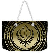 Decorative Khanda Symbol Gold On Black Weekender Tote Bag