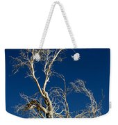 Deep Blue White Tree Weekender Tote Bag