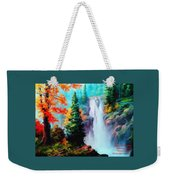 Deep Jungle Waterfall Scene. L A  Weekender Tote Bag