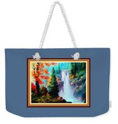 Deep Jungle Waterfall Scene L A With Alt. Decorative Ornate Printed Frame. Weekender Tote Bag