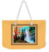 Deep Jungle Waterfall Scene L B With Alt. Decorative Ornate Printed Frame. Weekender Tote Bag