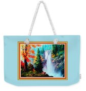 Deep Jungle Waterfall Scene L B With Decorative  Ornate Printed Frame. Weekender Tote Bag