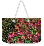Deep Pink Echinacea Straw Flowers Green Leaf And Grass Background 2 9132017 Weekender Tote Bag