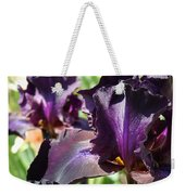 Deep Purple Irises Dark Purple Irises Summer Garden Art Prints Weekender Tote Bag