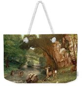 Deer By A River Weekender Tote Bag