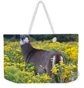 Deer In A Field Of Yellow Flowers Weekender Tote Bag