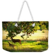 Deer In Autumn Meadow - Digital Painting Weekender Tote Bag