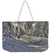 Deer In Snow Weekender Tote Bag