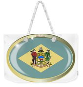 Delaware State Flag Oval Button Weekender Tote Bag