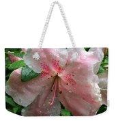 Delicate Pinks In Rain - Flower Photography Weekender Tote Bag