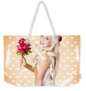 Delicate Young Woman Holding Flower Bunch Weekender Tote Bag