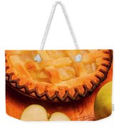 Delicious Apple Pie With Fresh Apples On Table Weekender Tote Bag