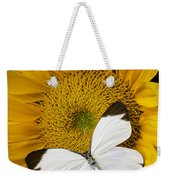 Delightful White Butterfly Weekender Tote Bag