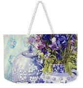 Delphiniums With Antique Blue Pots Weekender Tote Bag