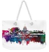 Denver Skyline City Blue Weekender Tote Bag