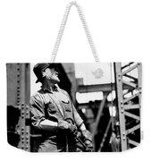Derrick Man   Empire State Building Weekender Tote Bag by LW Hine