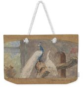 Design For A Dessus De Porte Branch With Peacock And Other Birds, August Allebe, 1874 Weekender Tote Bag
