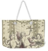 Design For A Gazebo Of Green Trellis, In Which Three Putti Play With Animals, Daniel Marot II, 170 Weekender Tote Bag