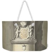 Design For A Monument To C. Brunings A Bust In A Niche, Bartholomeus Ziesenis, 1806 Weekender Tote Bag