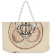 Design For A Plate With Crown And Monogram, Carel Adolph Lion Cachet, 1874 - 1945 Weekender Tote Bag