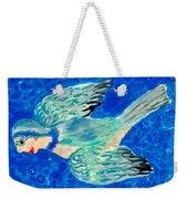 Detail Of Bird People Flying Bluetit Or Chickadee Weekender Tote Bag