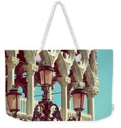 Detail Of Lamp And Columns In Venice. Vertically.  Weekender Tote Bag