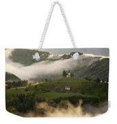 Detail Of Rolling Fog At Sunrise In The Skofjelosko Hribovje Hil Weekender Tote Bag