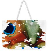 Determination - Colorful Cat Art Painting Weekender Tote Bag by Sharon Cummings