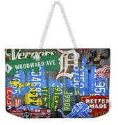Detroit The Motor City Michigan License Plate Art Collage Weekender Tote Bag