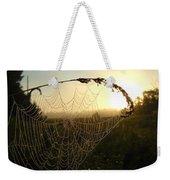 Dew On Spider Web At Sunrise Weekender Tote Bag