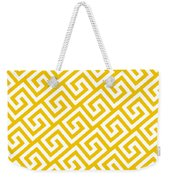 Diagonal Greek Key With Border In Mustard Weekender Tote Bag