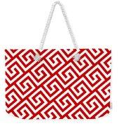Diagonal Greek Key With Border In Red Weekender Tote Bag