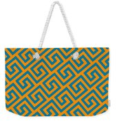 Diagonal Greek Key With Border In Tangerine Weekender Tote Bag