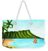 Diamond Head And Waikiki Beach Canoe #334 Weekender Tote Bag