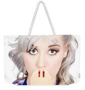 Diet Woman Covering Mouth With Secret Recipe Spoon Weekender Tote Bag