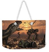 Dinosaurs And Robots Fight A War Weekender Tote Bag