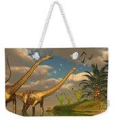 Diplodocus Dinosaur Romance Weekender Tote Bag