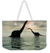 Diplodocus Dinosaurs Bathe In A Large Weekender Tote Bag