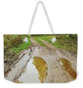 Dirty Autumn Road With Brown Pools After Rain Weekender Tote Bag