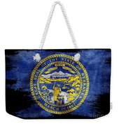 Distressed Nebraska Flag On Black Weekender Tote Bag
