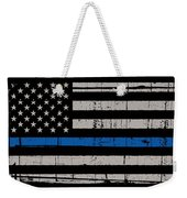 Distressed Thin Blue Line Weekender Tote Bag