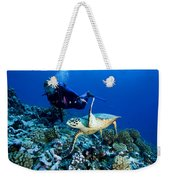 Diver And Green Sea Turtle Chelonia Weekender Tote Bag