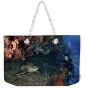 Diver And Sea Turtle, Manado, North Weekender Tote Bag by Mathieu Meur